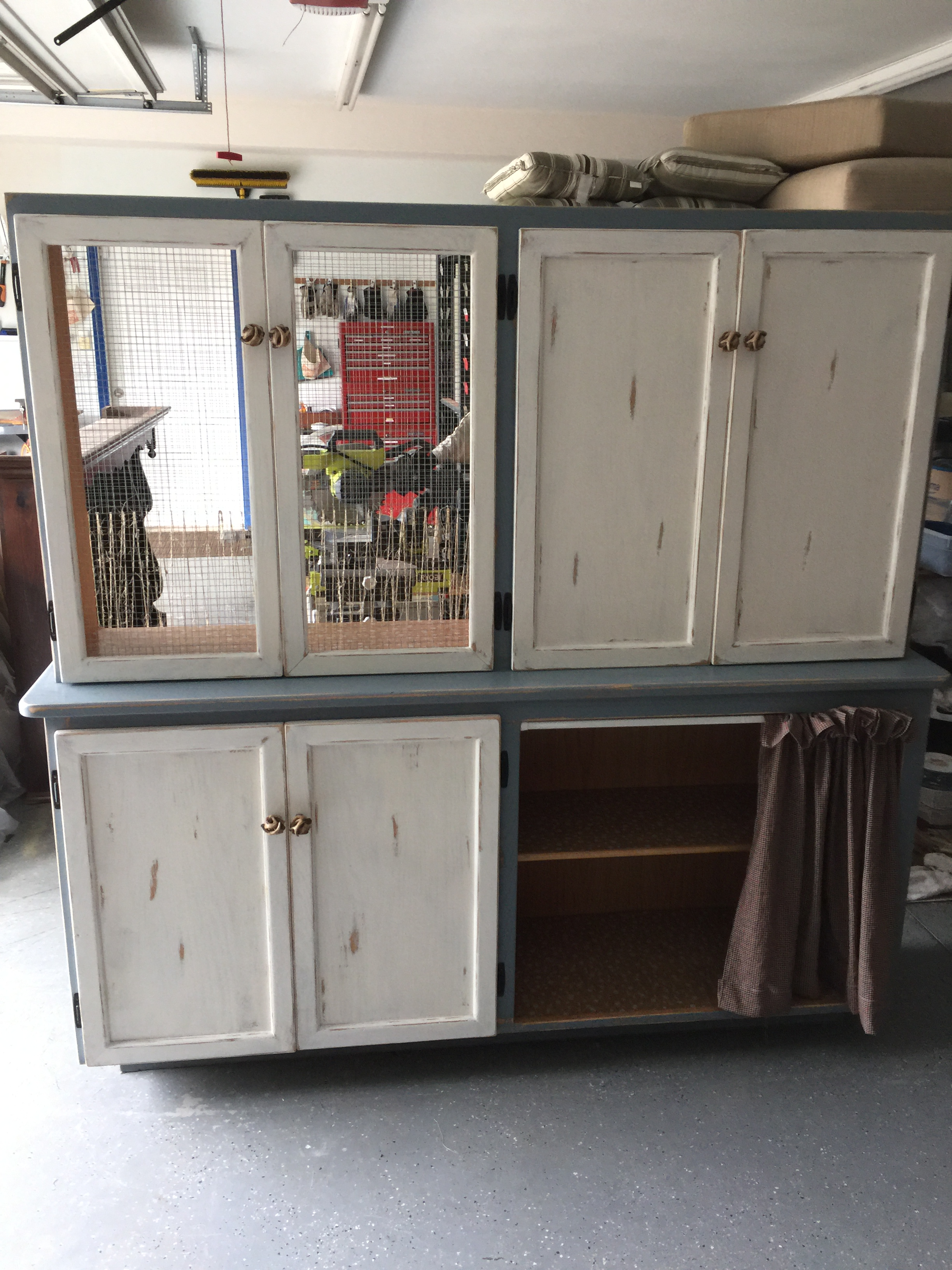 Before The Cupboard Was Complete, We First Had To Strip Down The Original.  A Lot Of Hand Sanding, Priming, Painting, And New Hardware Was Added, ...